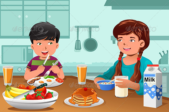 GraphicRiver Kids Eating Healthy Breakfast 8354271