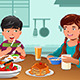 Kids Eating Healthy Breakfast - GraphicRiver Item for Sale