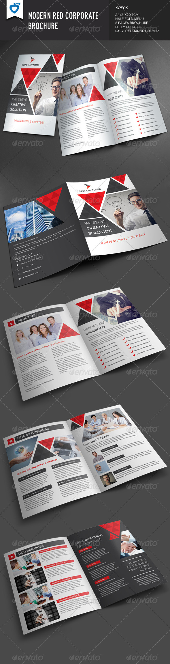 GraphicRiver Modern Red Corporate Brochure 8354273