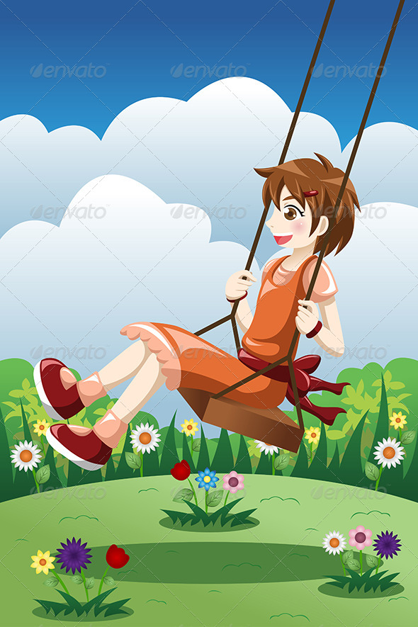 GraphicRiver Girl Playing Swing in a Park 8354289