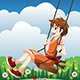 Girl Playing Swing in a Park - GraphicRiver Item for Sale