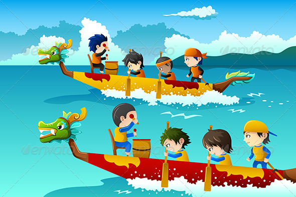 GraphicRiver Kids in a Boat Race 8354305