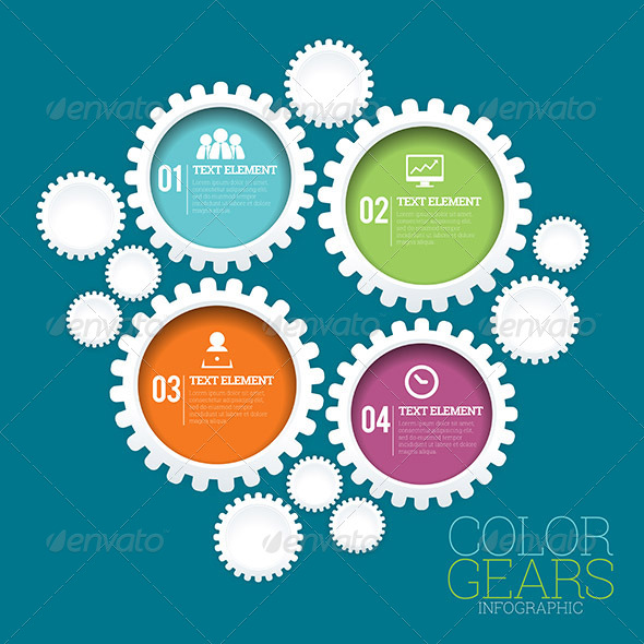 GraphicRiver Color Gears Infographic 8354327