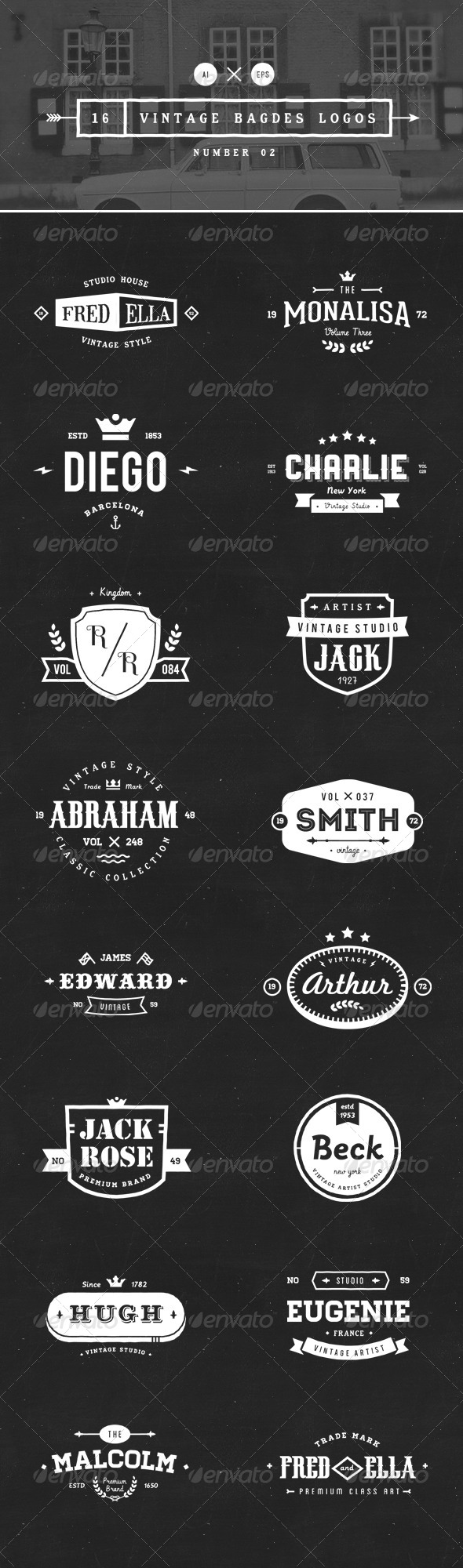 GraphicRiver 16 Vintage Badges Logos Number 02 8354334