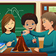 Elementary Students Doing a Volcano Experiment - GraphicRiver Item for Sale