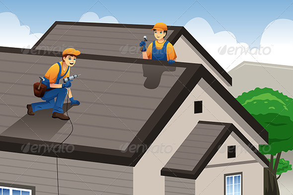 GraphicRiver Roofer Working on the Roof 8354870