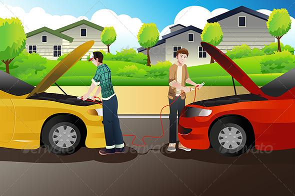 GraphicRiver Two People Trying to Jump Start a Car 8355029