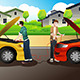 Two People Trying to Jump Start a Car - GraphicRiver Item for Sale