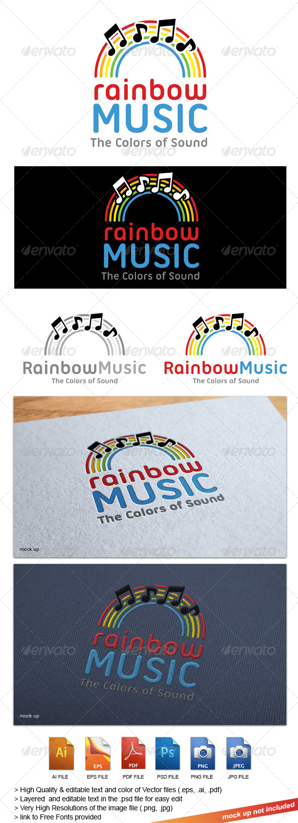 GraphicRiver Rainbow Music Logo 8355693