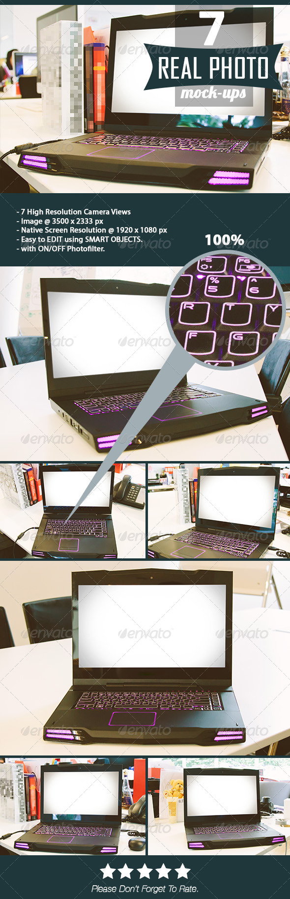GraphicRiver Real Photo Game Notebook Web Screen Mock-Up 8294723