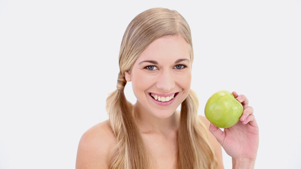 Happy Nude Blonde Holding Green Apple