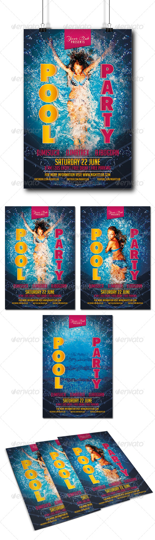 GraphicRiver Pool Party Flyer 8359096