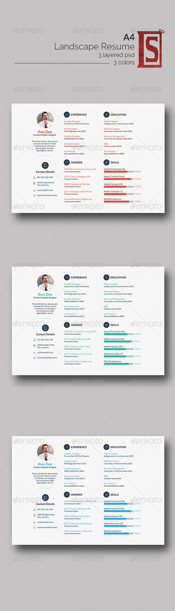 GraphicRiver Minimal Resumes 8360039