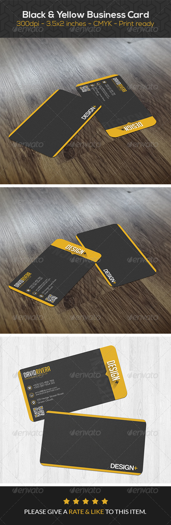 GraphicRiver Black Yellow Creative Business Card 8350086