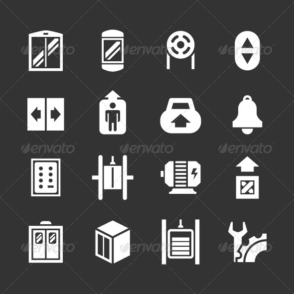 GraphicRiver Set Icons of Elevator and Lift 8362433