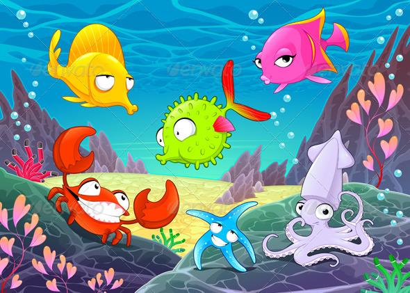 GraphicRiver Happy Animals Under the Sea 8363944