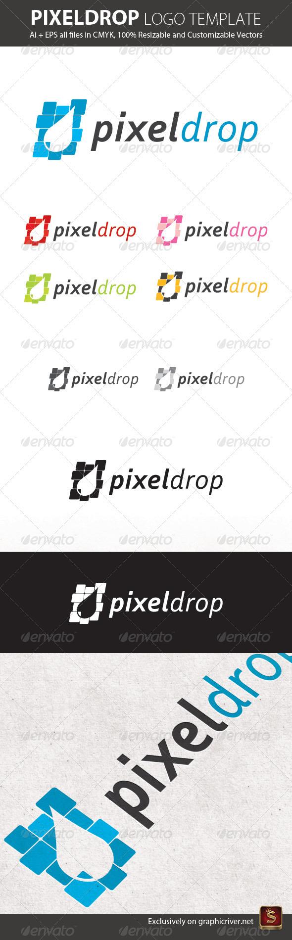 Pixel Drop Logo Template - Vector Abstract