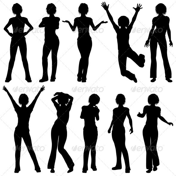 GraphicRiver Silhouettes Girls 849388