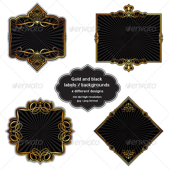 GraphicRiver Gold and Black Label Background Set 8364575