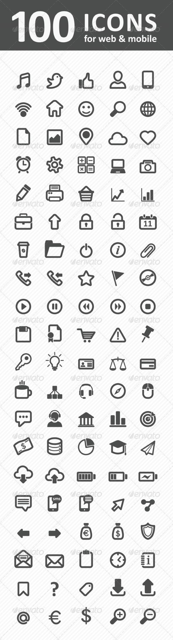 GraphicRiver 100 Icons for Web and Mobile 8364613