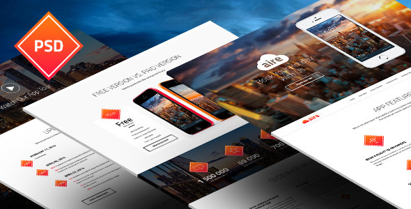 ThemeForest Aire App Landing Page PSD Template 8364621