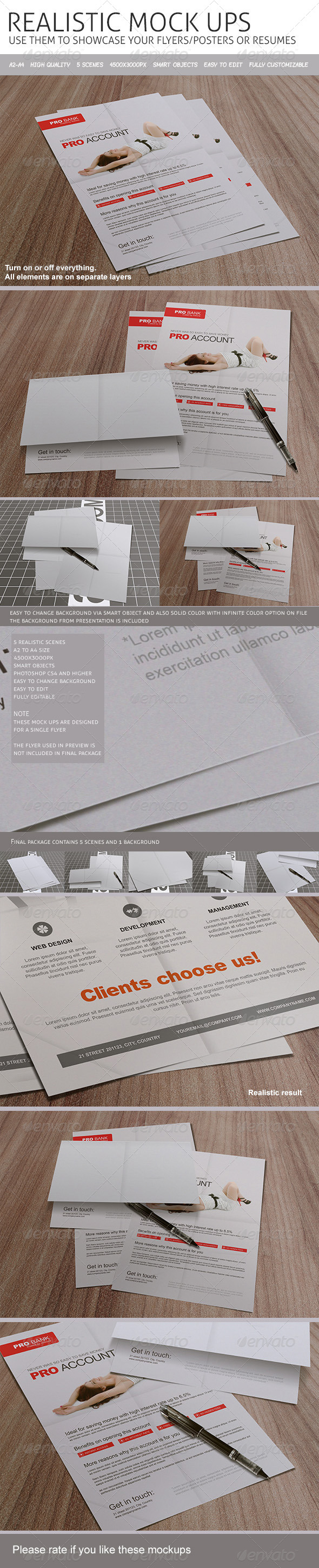 GraphicRiver Realistic Flyers Posters Resume Mockups 8364645
