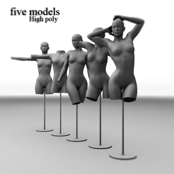 3DOcean Five different Mannequins dolls base mesh 8364756