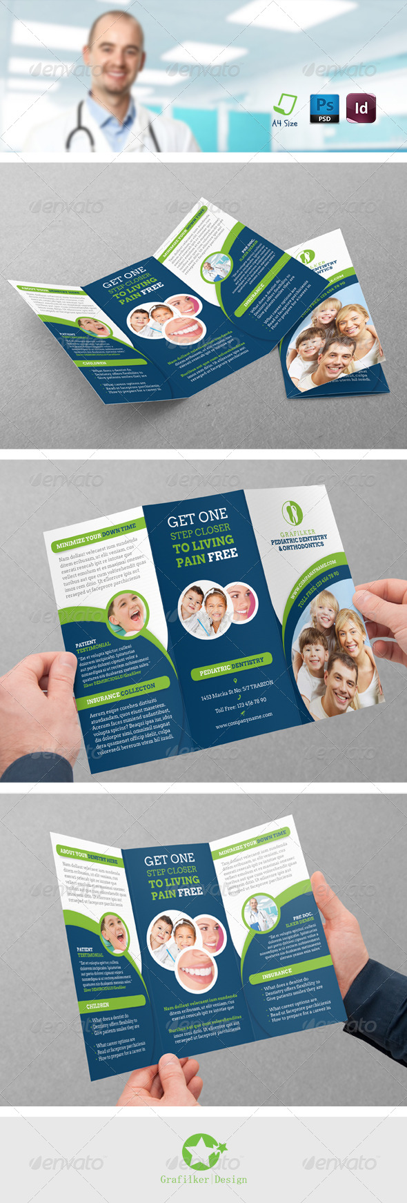 GraphicRiver Dentist Tri-Fold Templates 8364795