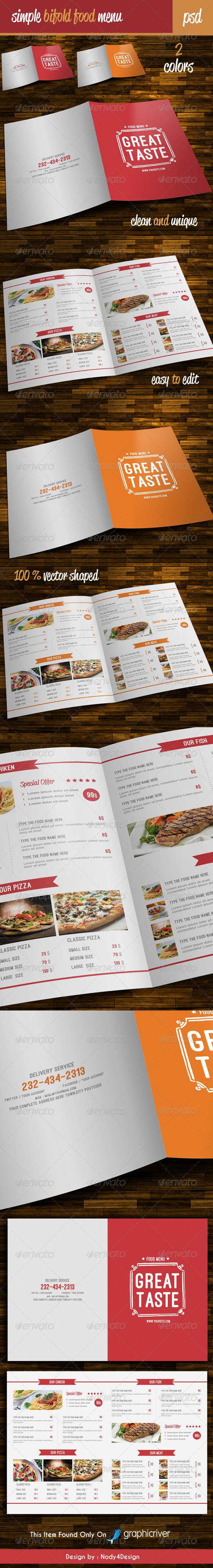 GraphicRiver Simple Bifold Food Menu 8365716