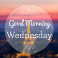 Good Morning Wednesday on Eiffle Paris blur background - PhotoDune Item for Sale
