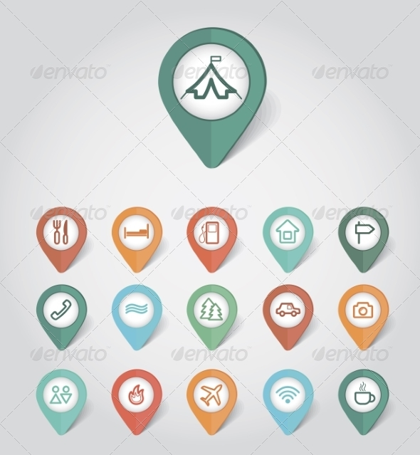 GraphicRiver Mapping Pins Icons Travel 8366166