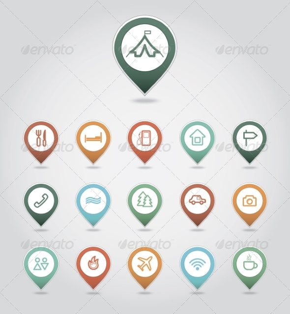 GraphicRiver Mapping Pins Icons Travel 8366176