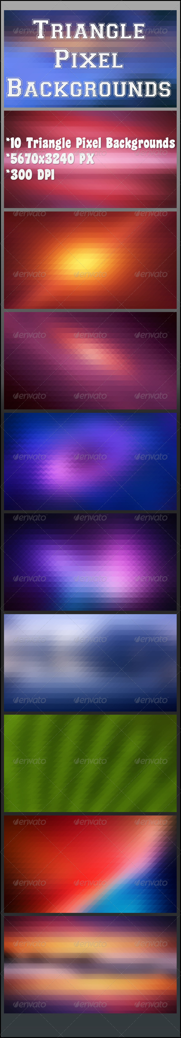 GraphicRiver Triangle Pixel Backgrounds 8351605