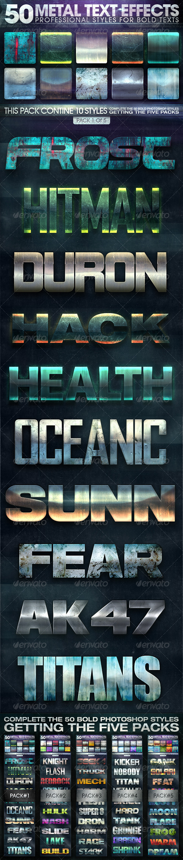 GraphicRiver 50 Metal Text Effects 1 of 5 8344089
