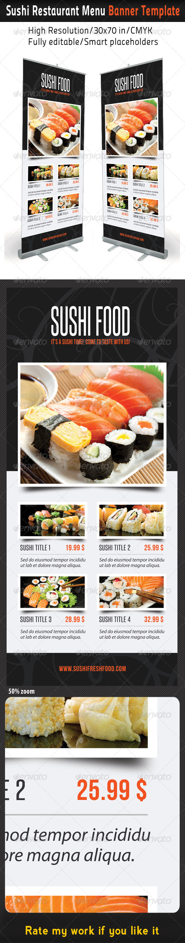 GraphicRiver Sushi Restaurant Menu Banner Template 8366612