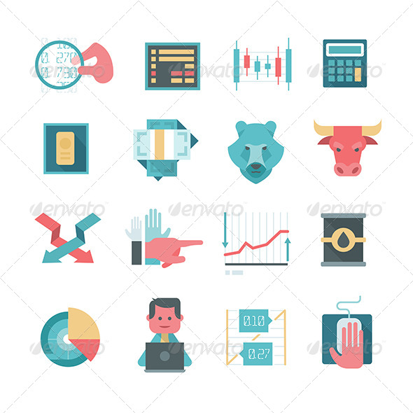 GraphicRiver Icons of Online Stocks Trading 8366798