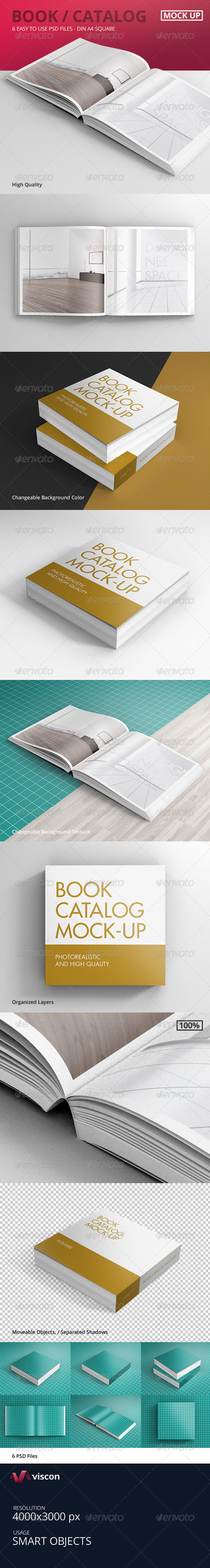 GraphicRiver Book Catalog Mock-Ups Square 8367935