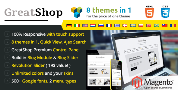 GreatShop – Premium Responsive Magento theme - Shopping Magento