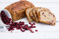Bread with cranberries on white wooden board - PhotoDune Item for Sale
