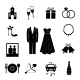Set of Black Silhouette Wedding Icons - GraphicRiver Item for Sale