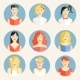 Flat Icons with Portraits of Fashionable Women - GraphicRiver Item for Sale