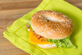 Bagel with fresh cheese and fresh lettuce - PhotoDune Item for Sale