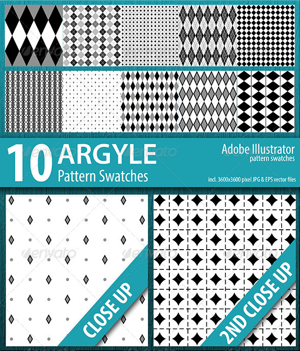 GraphicRiver 10 Argyle Seamless Pattern Swatches Vector 8354127