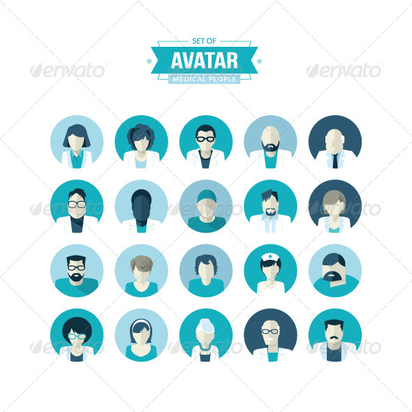 GraphicRiver Flat Design Avatar Icons for Medicine 8370546