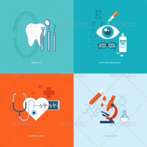 GraphicRiver Flat Design Concept Icons on Medicine Theme 8370857