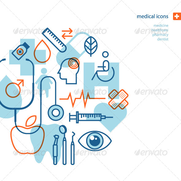 GraphicRiver Set of Flat Design Medical Icons 8370944