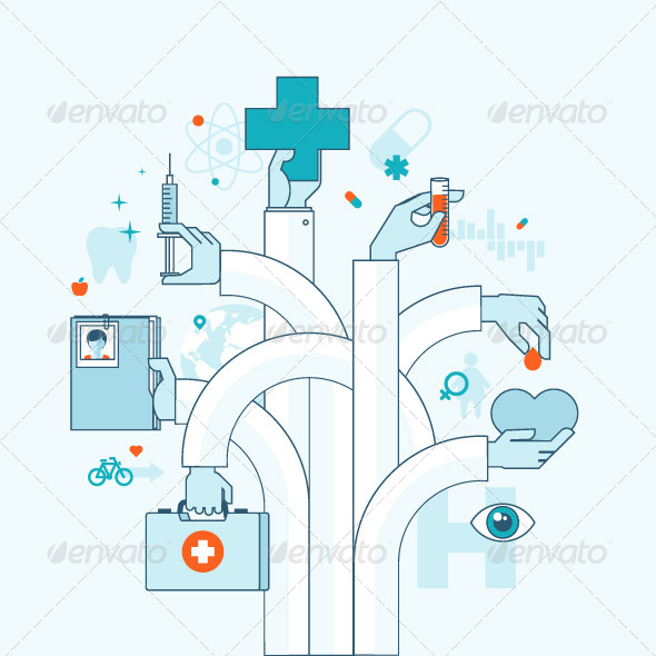 GraphicRiver Flat Line Concept on Medicine Theme 8370955