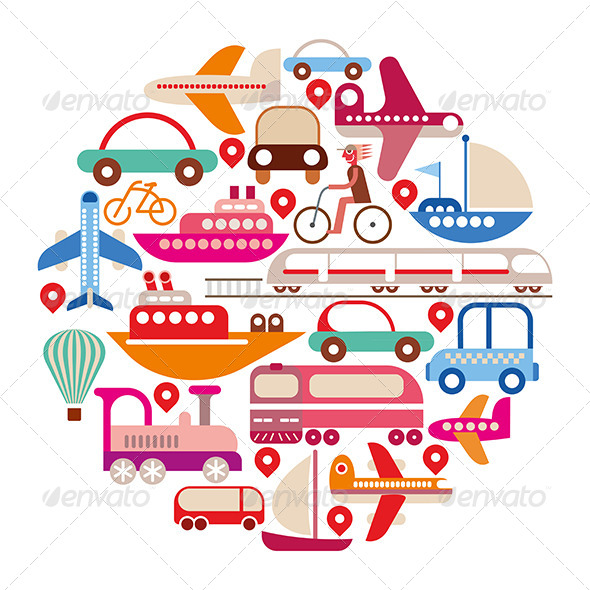 GraphicRiver Round Travel and Transport Icon 8370994
