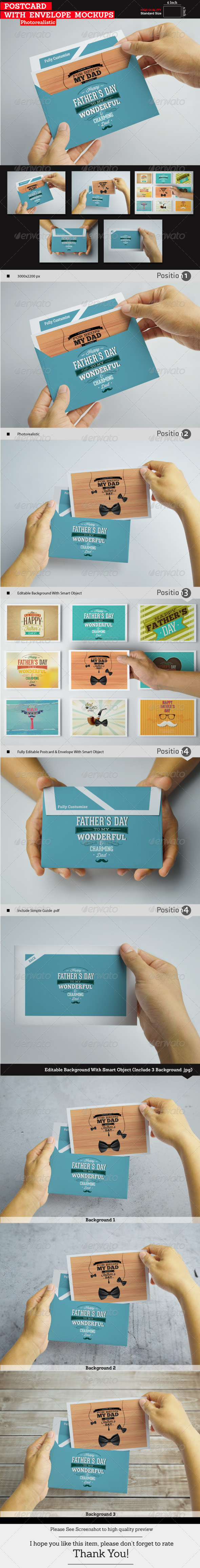 GraphicRiver Postcard With Envelope Mockups 8370998