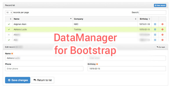 CodeCanyon DataManager Tables & Forms handler for Bootstrap 8318382